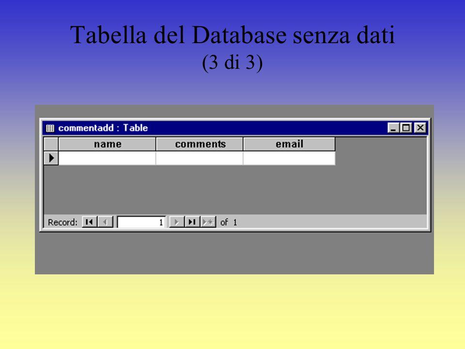 Creare un Database (2 di 3) Prima di tutto si crea un database chiamato commenti.mdb usando Microsoft Access.