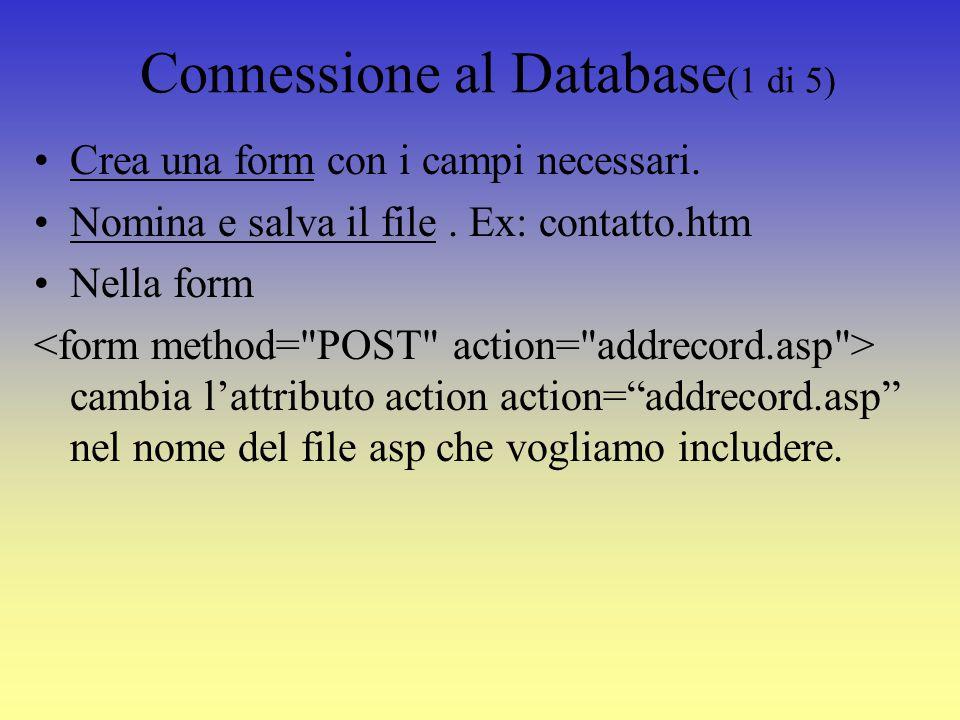 Tabella del Database senza dati (3 di 3)