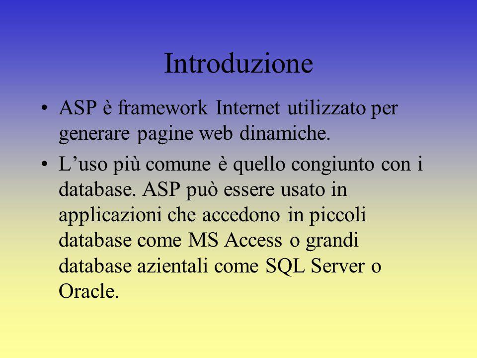 Introduzione ASP è framework Internet utilizzato per generare pagine web dinamiche.