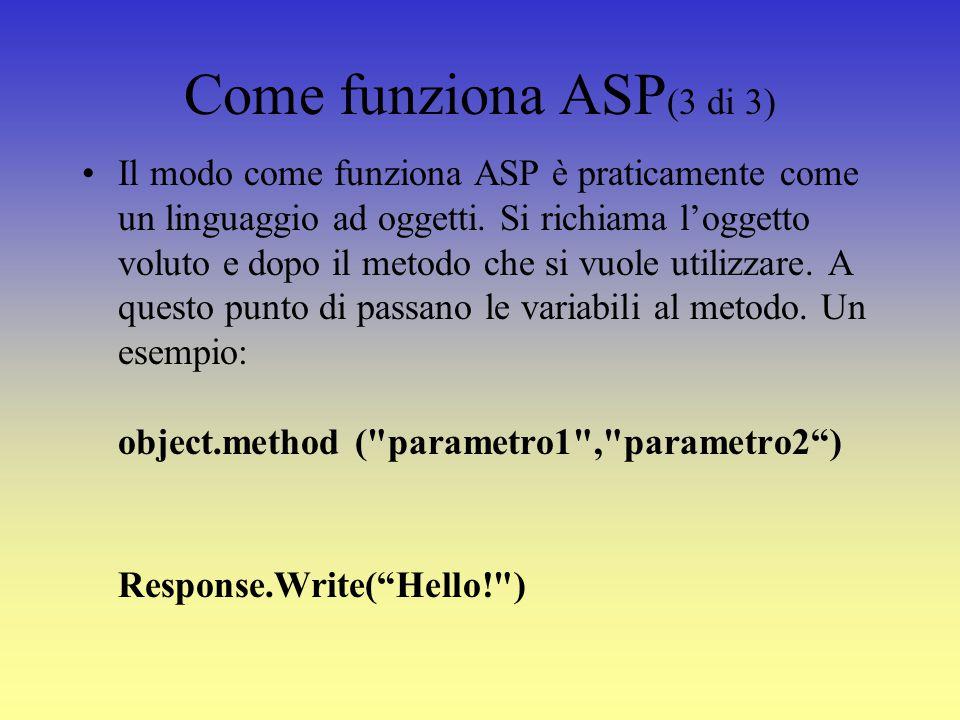 Come funziona ASP (3 di 3) Il modo come funziona ASP è praticamente come un linguaggio ad oggetti.