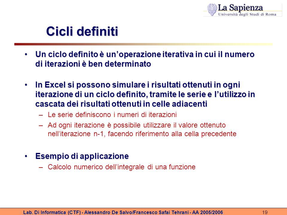 Lab. Di Informatica (CTF) - Alessandro De Salvo/Francesco Safai Tehrani - AA 2005/200619 Cicli definiti Un ciclo definito è un'operazione iterativa in
