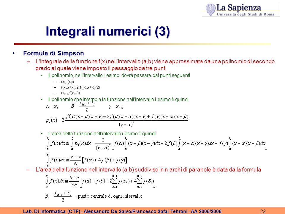 Lab. Di Informatica (CTF) - Alessandro De Salvo/Francesco Safai Tehrani - AA 2005/200622 Integrali numerici (3) Formula di SimpsonFormula di Simpson –