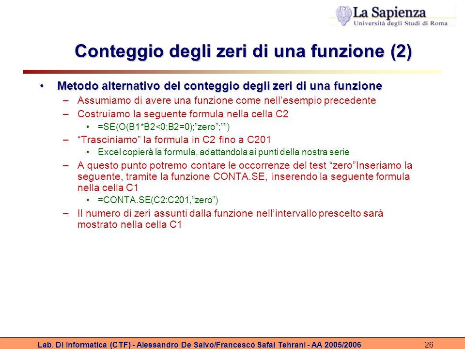 Lab. Di Informatica (CTF) - Alessandro De Salvo/Francesco Safai Tehrani - AA 2005/200626 Conteggio degli zeri di una funzione (2) Metodo alternativo d