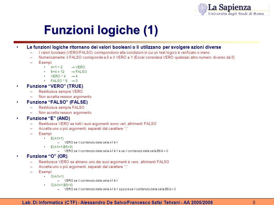 Lab. Di Informatica (CTF) - Alessandro De Salvo/Francesco Safai Tehrani - AA 2005/20068 Funzioni logiche (1) Le funzioni logiche ritornano dei valori