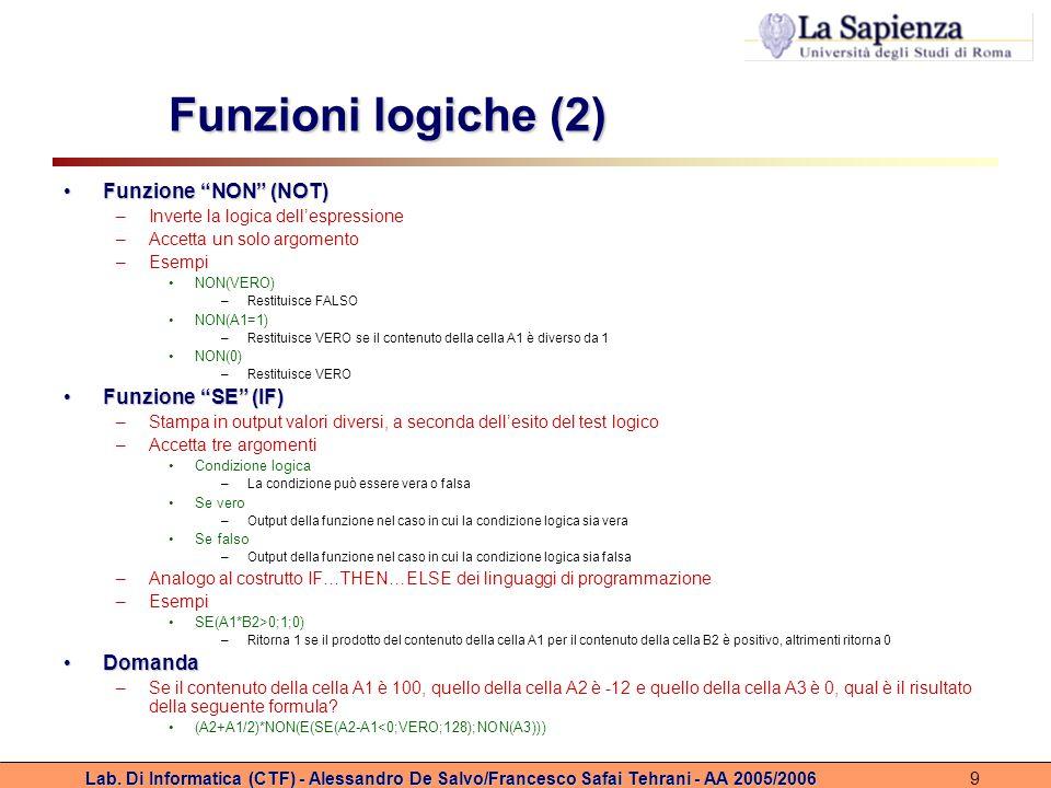 """Lab. Di Informatica (CTF) - Alessandro De Salvo/Francesco Safai Tehrani - AA 2005/20069 Funzioni logiche (2) Funzione """"NON"""" (NOT)Funzione """"NON"""" (NOT)"""