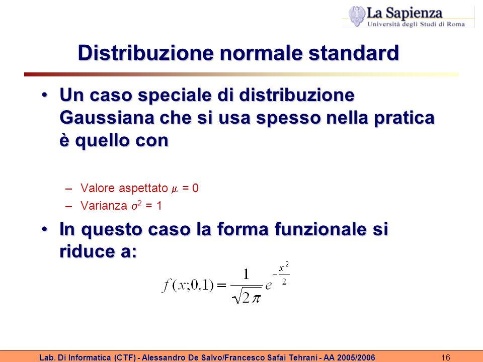 Lab. Di Informatica (CTF) - Alessandro De Salvo/Francesco Safai Tehrani - AA 2005/200616 Distribuzione normale standard Un caso speciale di distribuzi