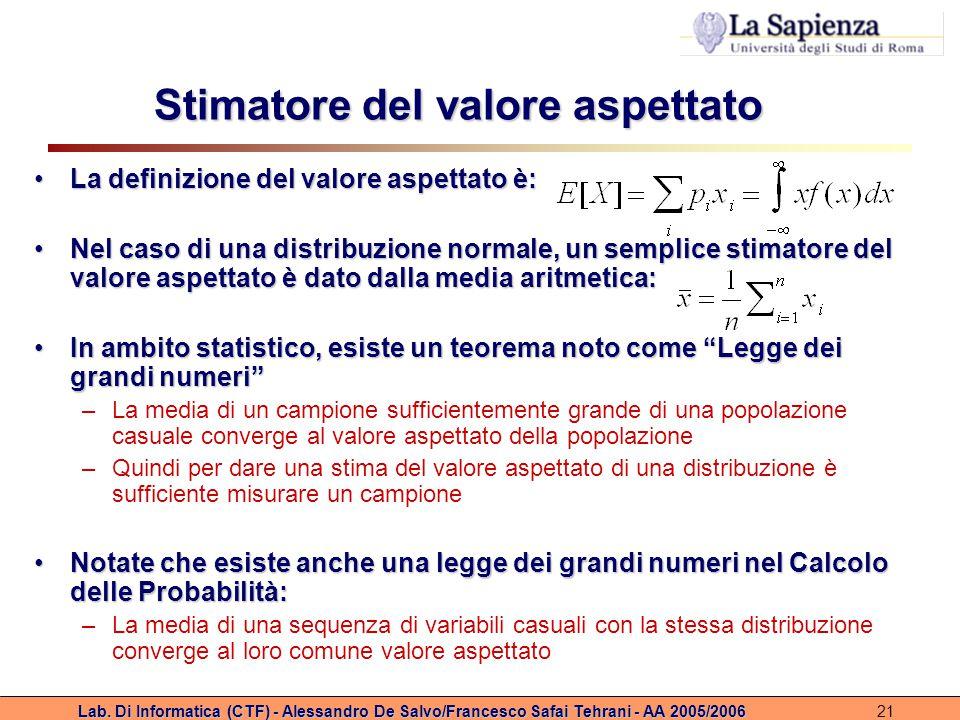 Lab. Di Informatica (CTF) - Alessandro De Salvo/Francesco Safai Tehrani - AA 2005/200621 Stimatore del valore aspettato La definizione del valore aspe