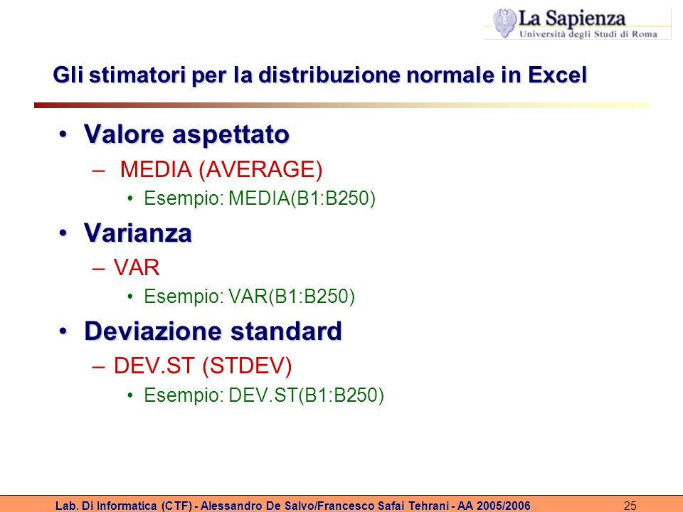 Lab. Di Informatica (CTF) - Alessandro De Salvo/Francesco Safai Tehrani - AA 2005/200625 Gli stimatori per la distribuzione normale in Excel Valore as
