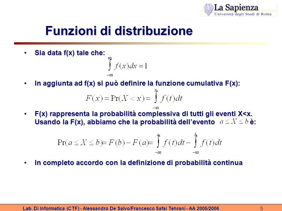 Lab. Di Informatica (CTF) - Alessandro De Salvo/Francesco Safai Tehrani - AA 2005/20065 Funzioni di distribuzione Sia data f(x) tale che:Sia data f(x)