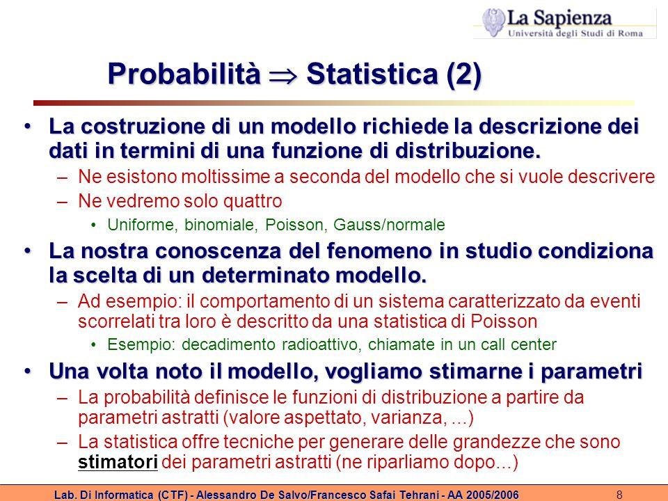 Lab. Di Informatica (CTF) - Alessandro De Salvo/Francesco Safai Tehrani - AA 2005/20068 Probabilità  Statistica (2) La costruzione di un modello rich