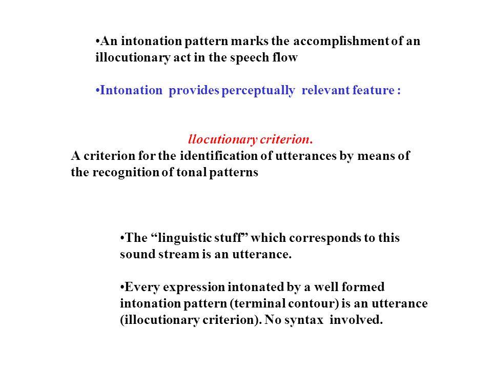 Isomorfismo tra la struttura intonativa e la struttura informativa (Teoria dell'articolazione dell'informazione) Pattern intonativo prefixrootsuffix Pattern informativo TopicCommentAppendice Funzione informativa Identifica il campo di applicazion e dell'atto Esprime l'illocuzione integrazione testuale