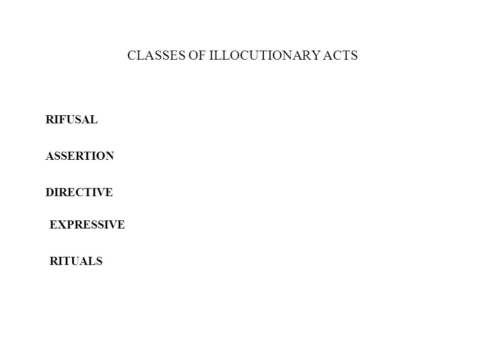 CLASSES OF ILLOCUTIONARY ACTS RIFUSAL ASSERTION DIRECTIVE EXPRESSIVE RITUALS