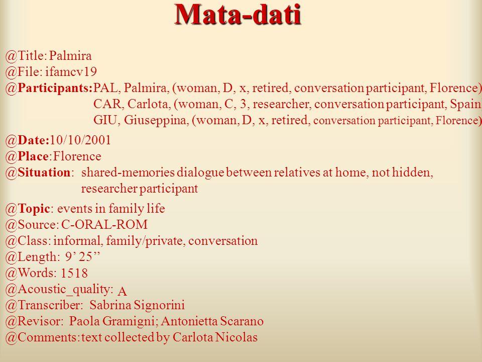 TESTO Meta-dati Meta-dati: Informazioni sulla sessione e sui locutori (C-ORAL-ROM format )* Linea del testo Linea del testo: trascrizione ortografica