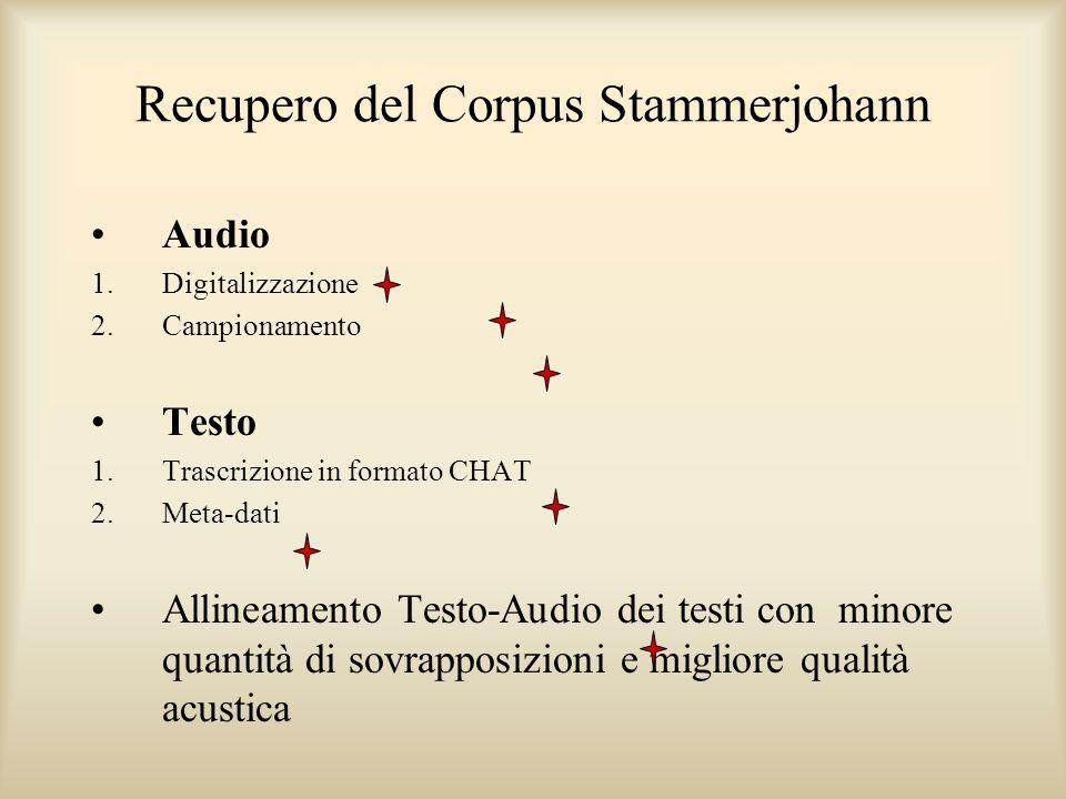 Recupero del Corpus Stammerjohann Audio 1.Digitalizzazione 2.Campionamento Testo 1.Trascrizione in formato CHAT 2.Meta-dati Allineamento Testo-Audio dei testi con minore quantità di sovrapposizioni e migliore qualità acustica