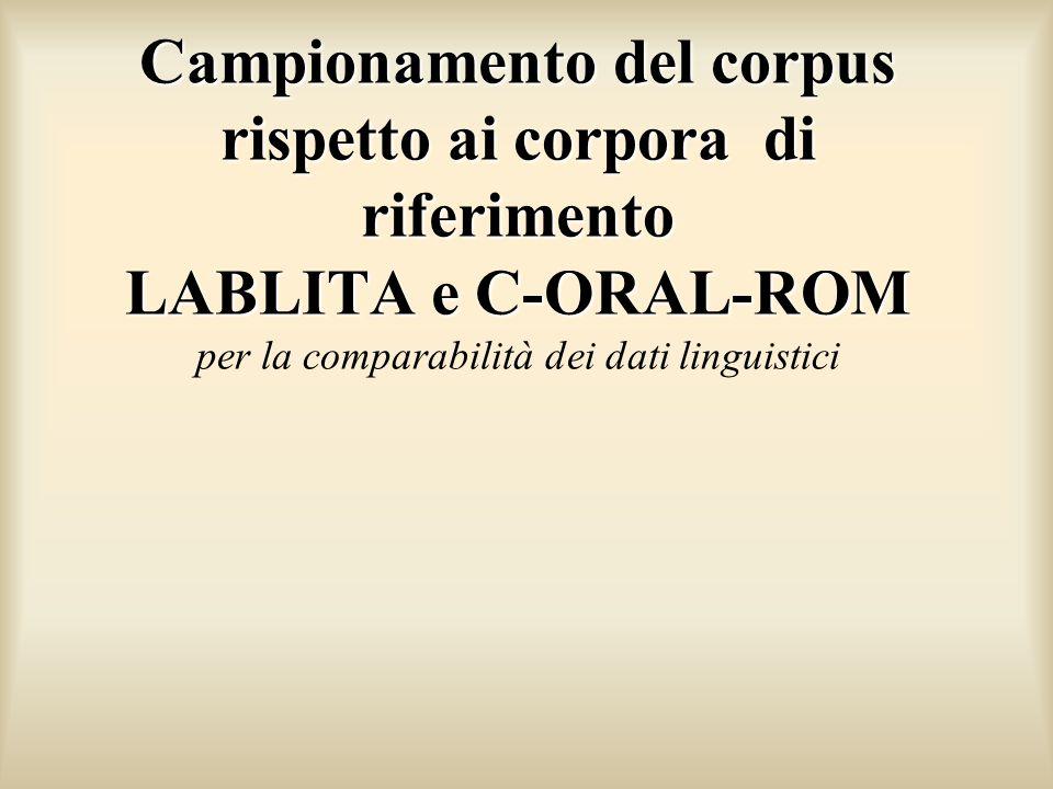 Campionamento del corpus rispetto ai corpora di riferimento LABLITA e C-ORAL-ROM Campionamento del corpus rispetto ai corpora di riferimento LABLITA e C-ORAL-ROM per la comparabilità dei dati linguistici