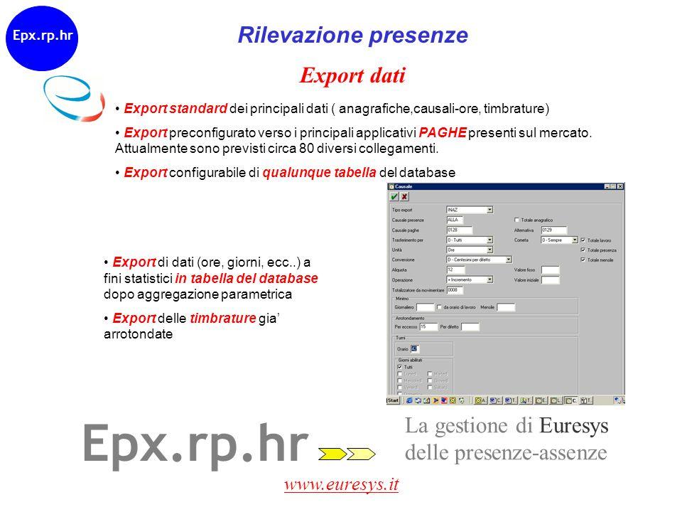 www.euresys.it Epx.rp.hr Rilevazione presenze Export dati Export standard dei principali dati ( anagrafiche,causali-ore, timbrature) Export preconfigu