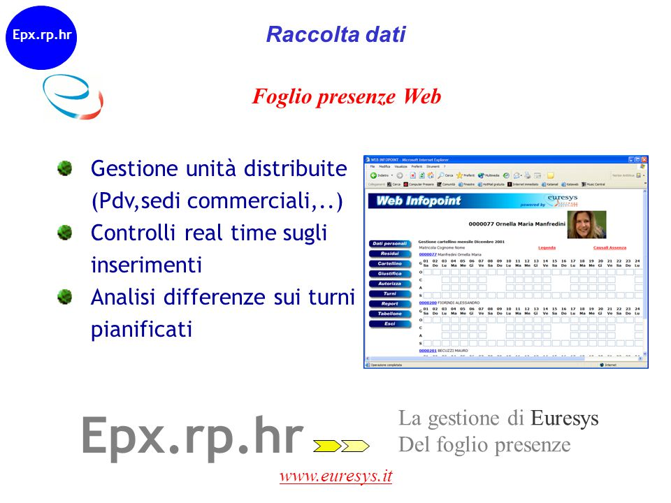 www.euresys.it Epx.rp.hr La gestione di Euresys Del foglio presenze Foglio presenze Web Epx.rd.hr Gestione unità distribuite (Pdv,sedi commerciali,..)