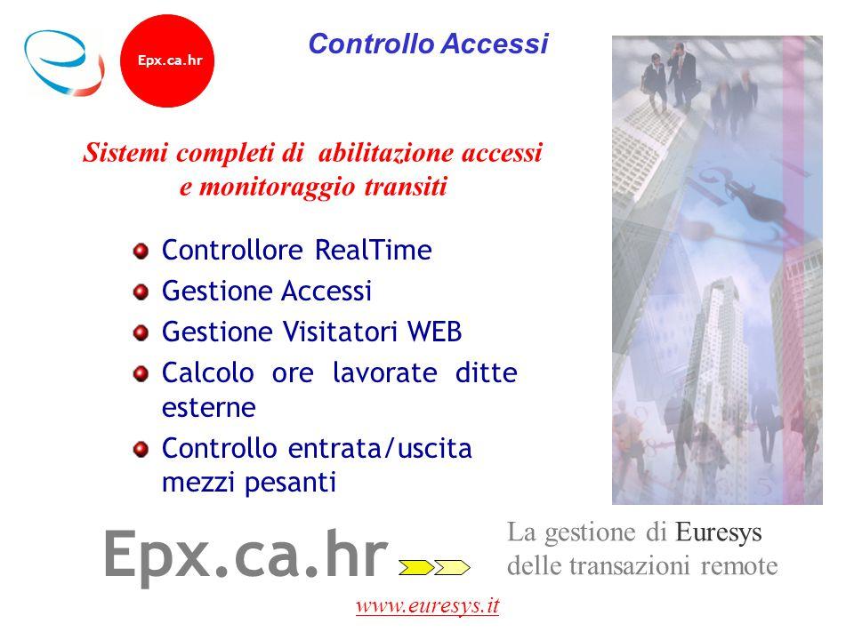 www.euresys.it Epx.ca.hr La gestione di Euresys delle transazioni remote Sistemi completi di abilitazione accessi e monitoraggio transiti Controllore