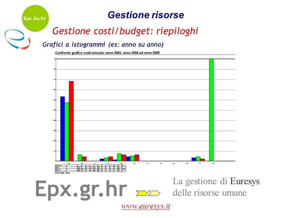 www.euresys.it La gestione di Euresys delle risorse umane Epx.gr.hr Gestione risorse Grafici a istogrammi (es: anno su anno) Gestione costi/budget: ri