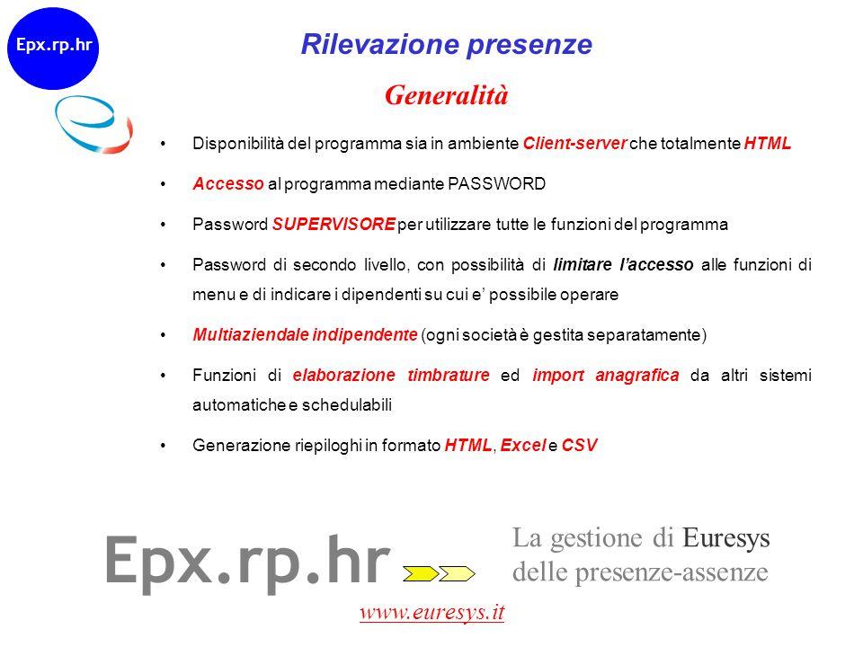 www.euresys.it Generalità Disponibilità del programma sia in ambiente Client-server che totalmente HTML Accesso al programma mediante PASSWORD Passwor