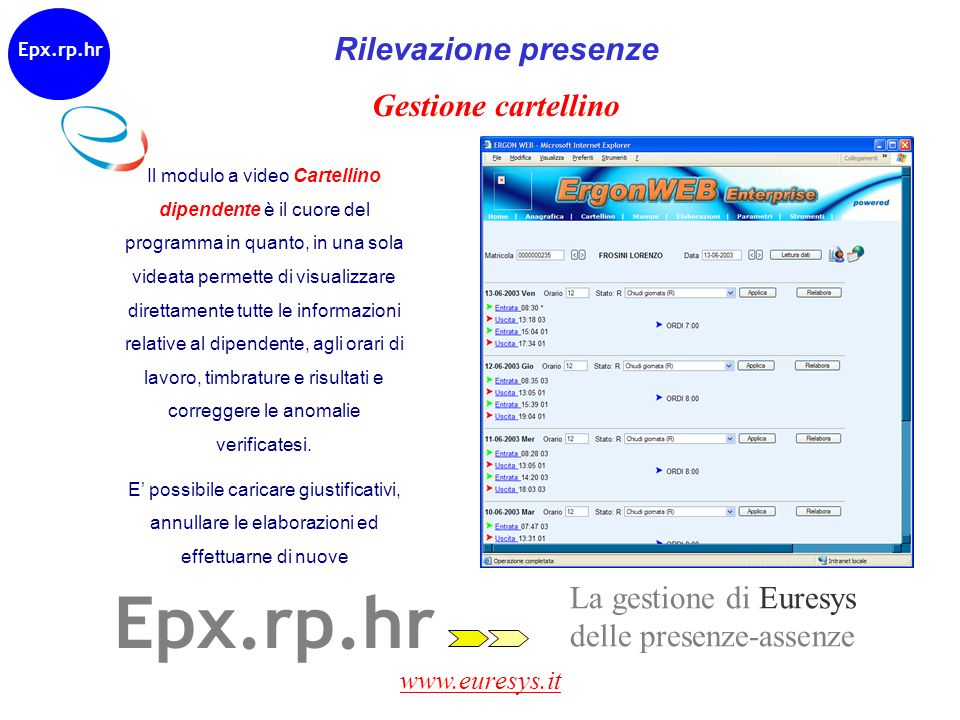 www.euresys.it Epx.rp.hr Rilevazione presenze Gestione cartellino Il modulo a video Cartellino dipendente è il cuore del programma in quanto, in una s