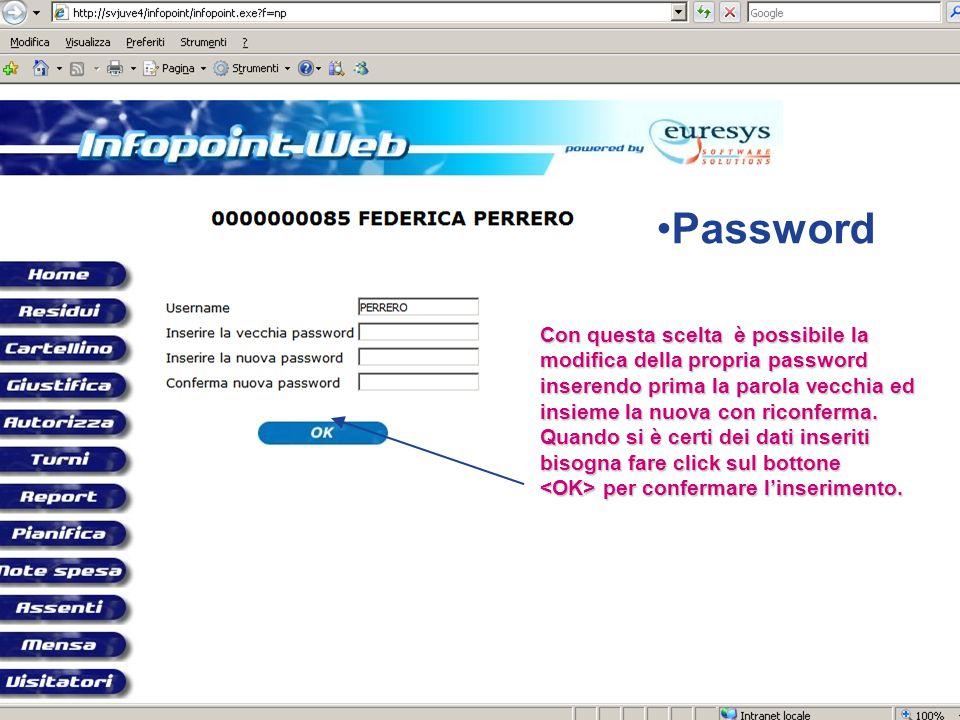Con questa scelta è possibile la modifica della propria password inserendo prima la parola vecchia ed insieme la nuova con riconferma.
