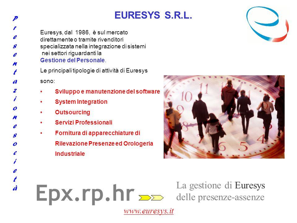 www.euresys.it La gestione di Euresys delle risorse umane Epx.gr.hr Gestione risorse Documenti creazione documenti personalizzati importazione documenti esterni associazione documenti al dipendente Gestione documenti