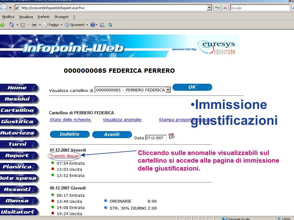 Immissione giustificazioni Cliccando sulle anomalie visualizzabili sul cartellino si accede alla pagina di immissione delle giustificazioni.