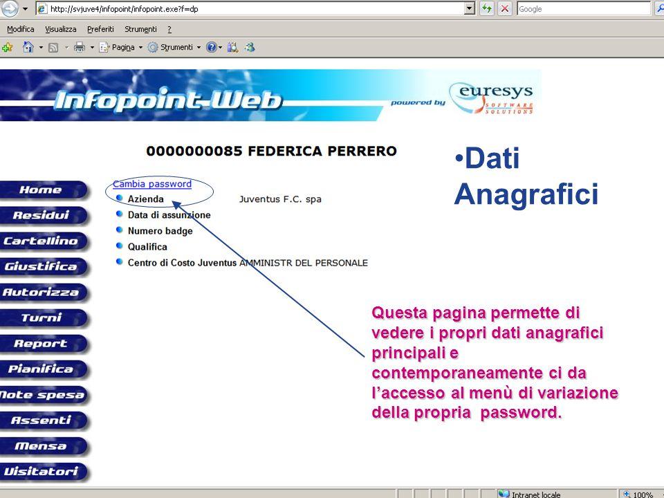 Questa pagina permette di vedere i propri dati anagrafici principali e contemporaneamente ci da l'accesso al menù di variazione della propria password
