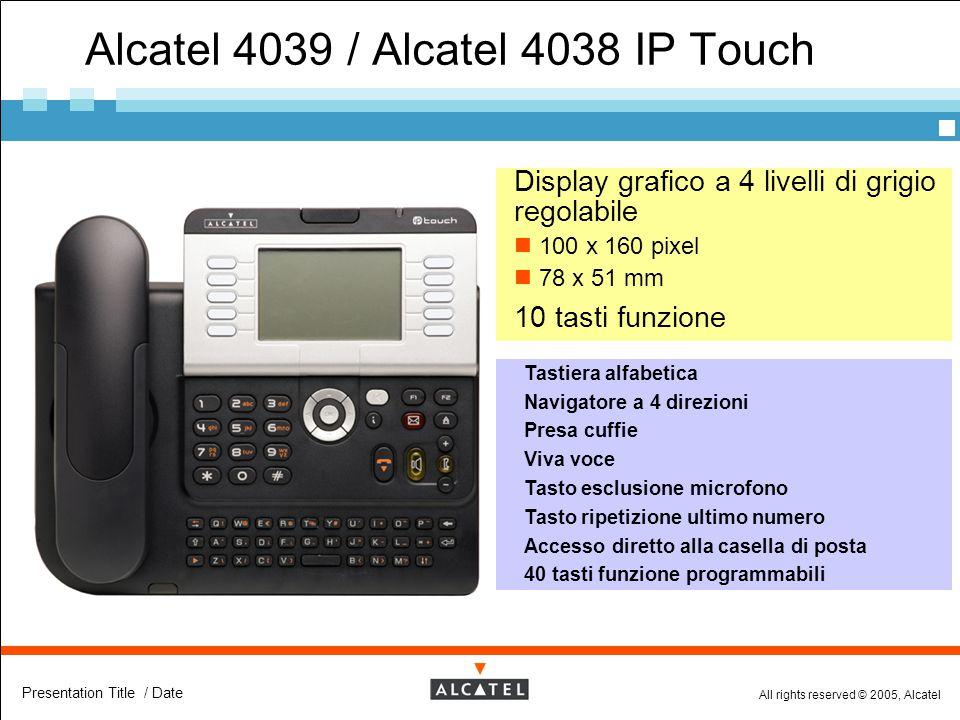 All rights reserved © 2005, Alcatel Presentation Title / Date Alcatel 4039 / Alcatel 4038 IP Touch  Display grafico a 4 livelli di grigio regolabile