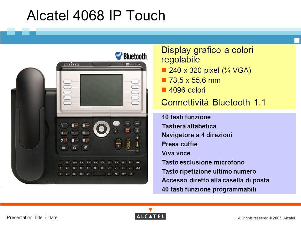 All rights reserved © 2005, Alcatel Presentation Title / Date Alcatel 4068 IP Touch  Display grafico a colori regolabile 240 x 320 pixel (¼ VGA) 73,5