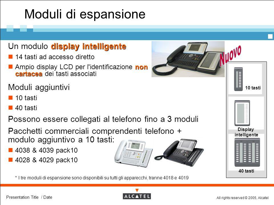 All rights reserved © 2005, Alcatel Presentation Title / Date Moduli di espansione 10 tasti 40 tasti Display intelligente display intelligente  Un mo
