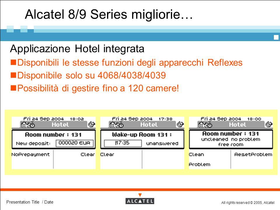 All rights reserved © 2005, Alcatel Presentation Title / Date Alcatel 8/9 Series migliorie…  Applicazione Hotel integrata Disponibili le stesse funzi