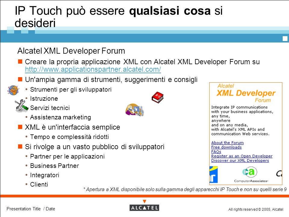 All rights reserved © 2005, Alcatel Presentation Title / Date  Alcatel XML Developer Forum Creare la propria applicazione XML con Alcatel XML Develop