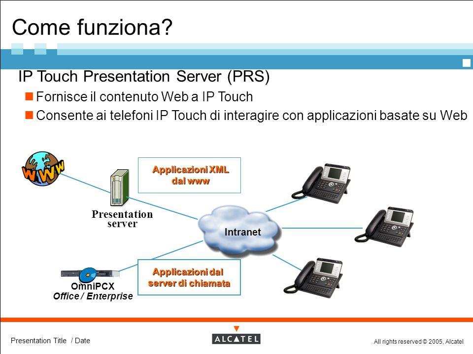 All rights reserved © 2005, Alcatel Presentation Title / Date  IP Touch Presentation Server (PRS) Fornisce il contenuto Web a IP Touch Consente ai te