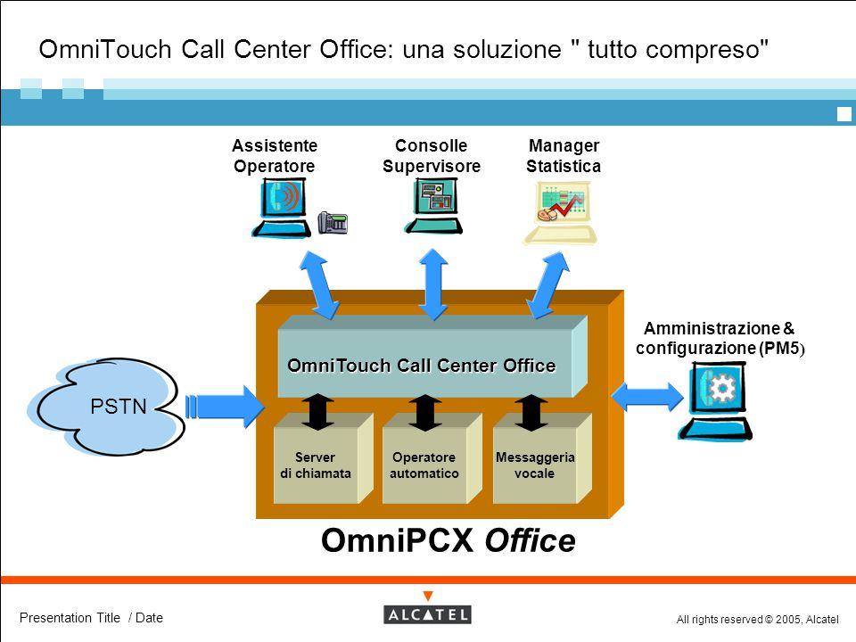 All rights reserved © 2005, Alcatel Presentation Title / Date OmniTouch Call Center Office: una soluzione