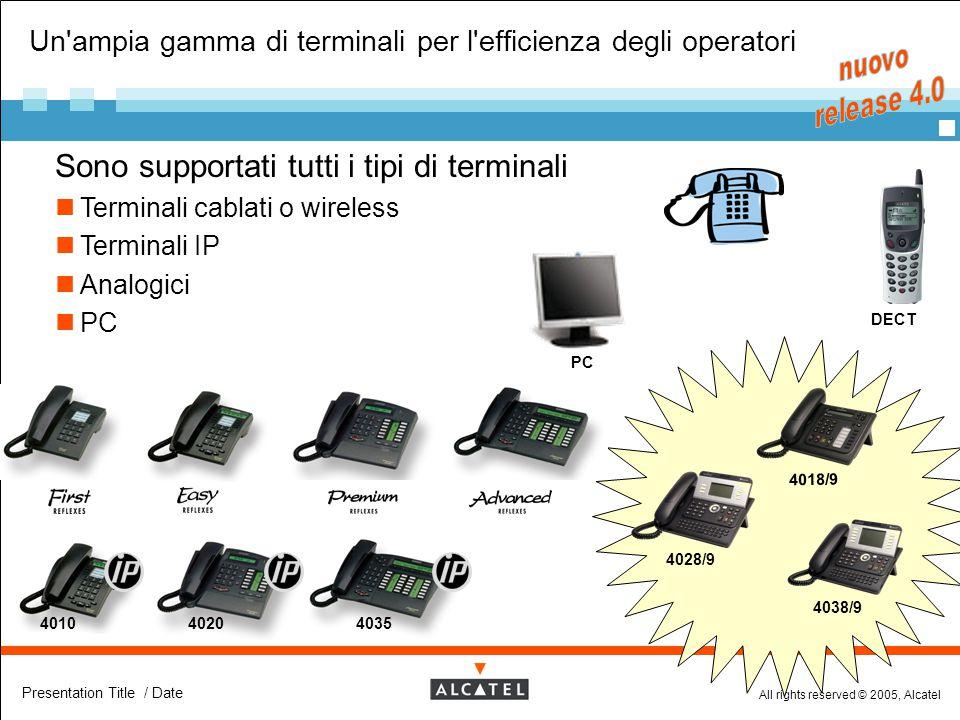 All rights reserved © 2005, Alcatel Presentation Title / Date Un'ampia gamma di terminali per l'efficienza degli operatori  Sono supportati tutti i t