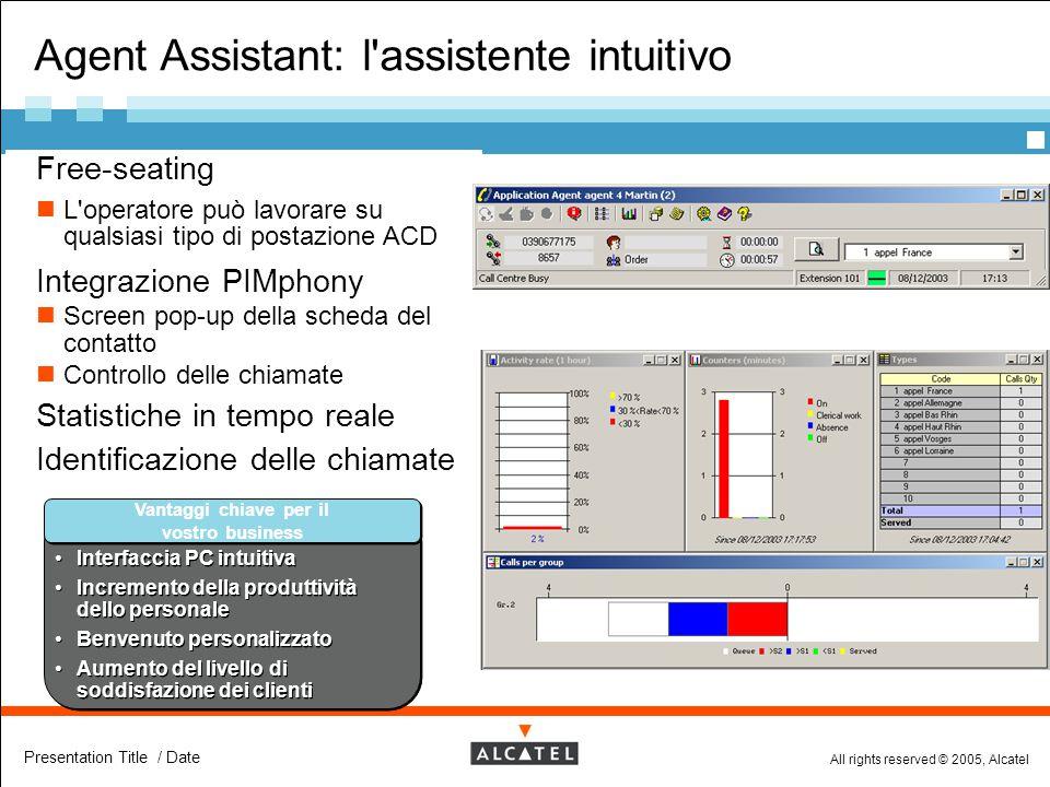 All rights reserved © 2005, Alcatel Presentation Title / Date Agent Assistant: l'assistente intuitivo  Free-seating L'operatore può lavorare su quals