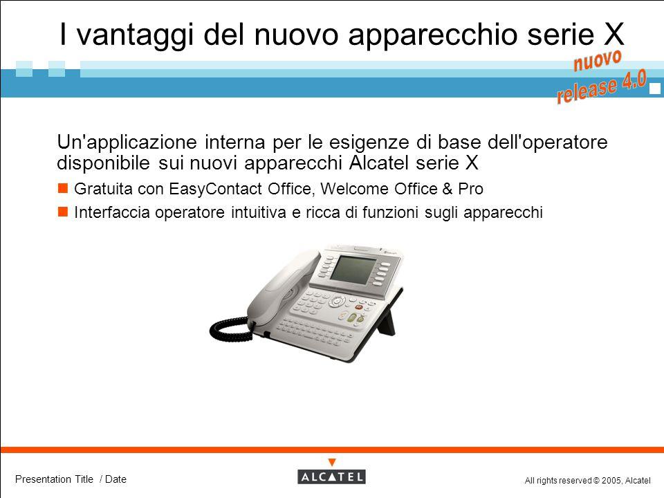 All rights reserved © 2005, Alcatel Presentation Title / Date I vantaggi del nuovo apparecchio serie X  Un'applicazione interna per le esigenze di ba