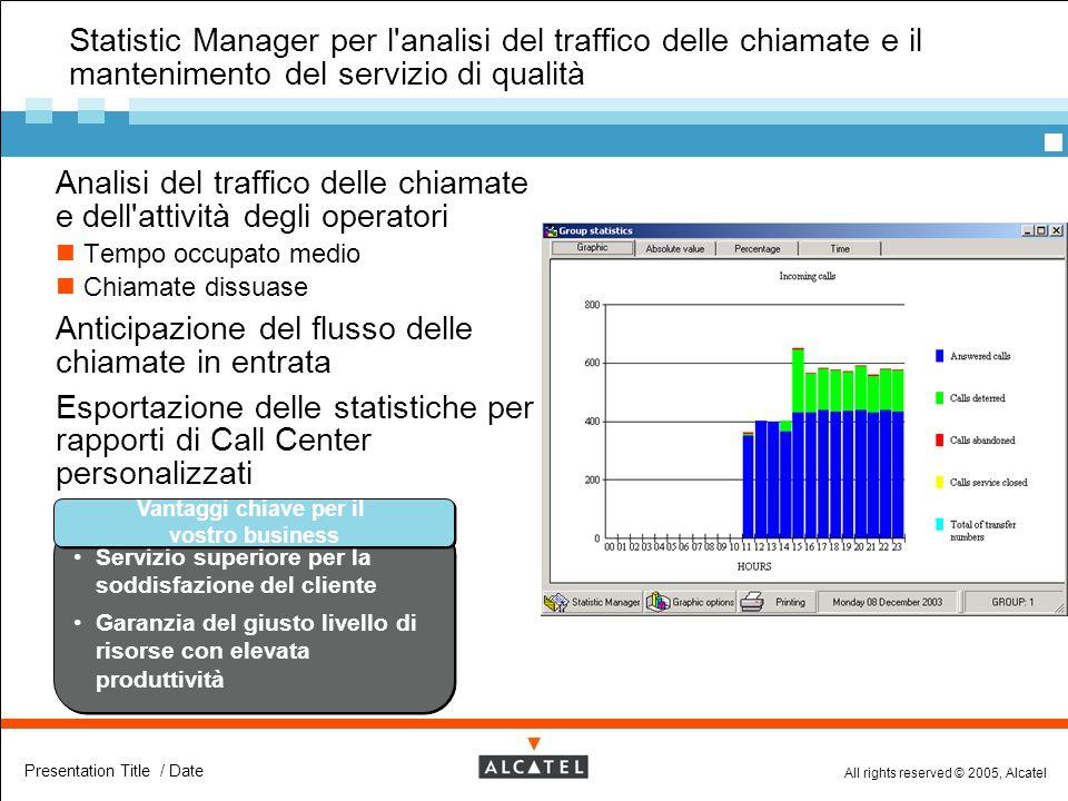 All rights reserved © 2005, Alcatel Presentation Title / Date Statistic Manager per l'analisi del traffico delle chiamate e il mantenimento del serviz