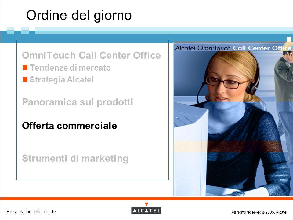 All rights reserved © 2005, Alcatel Presentation Title / Date Ordine del giorno  OmniTouch Call Center Office Tendenze di mercato Strategia Alcatel 