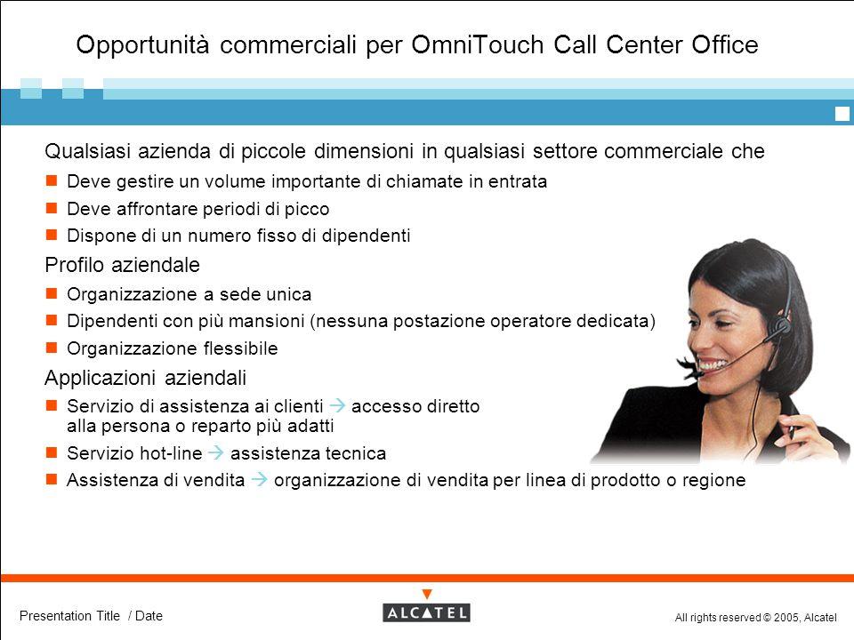 All rights reserved © 2005, Alcatel Presentation Title / Date Opportunità commerciali per OmniTouch Call Center Office  Qualsiasi azienda di piccole