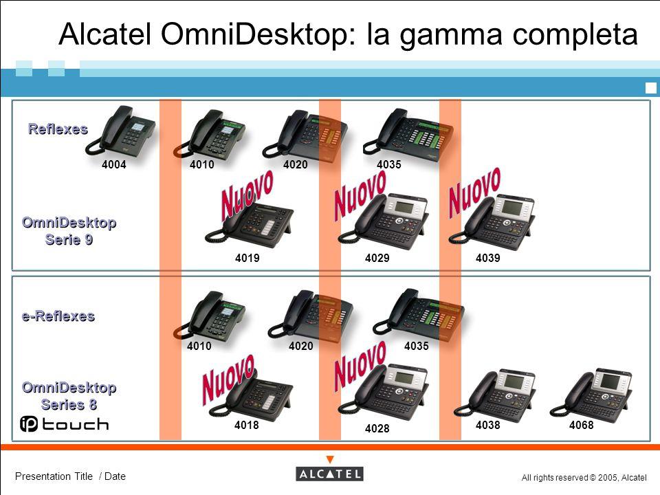 All rights reserved © 2005, Alcatel Presentation Title / Date Alcatel OmniDesktop: la gamma completa Reflexes OmniDesktop Serie 9 e-Reflexes 400440104