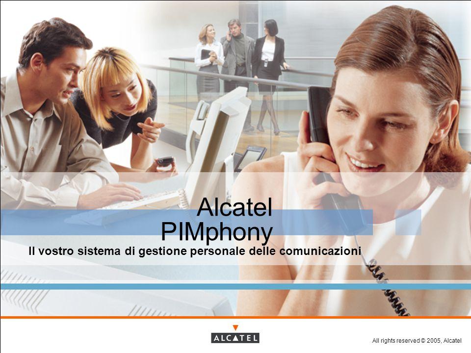 All rights reserved © 2005, Alcatel Alcatel PIMphony Il vostro sistema di gestione personale delle comunicazioni