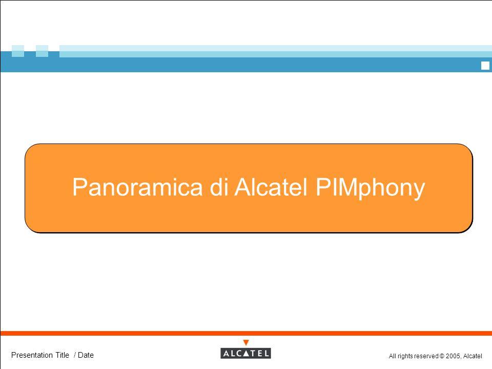 All rights reserved © 2005, Alcatel Presentation Title / Date Panoramica di Alcatel PIMphony