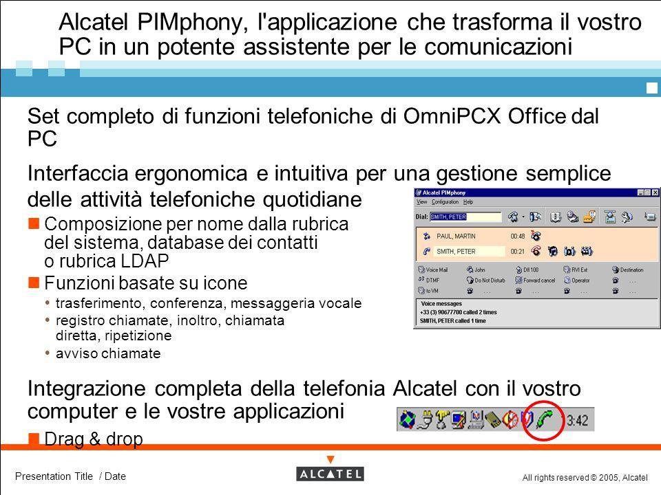 All rights reserved © 2005, Alcatel Presentation Title / Date Alcatel PIMphony, l'applicazione che trasforma il vostro PC in un potente assistente per