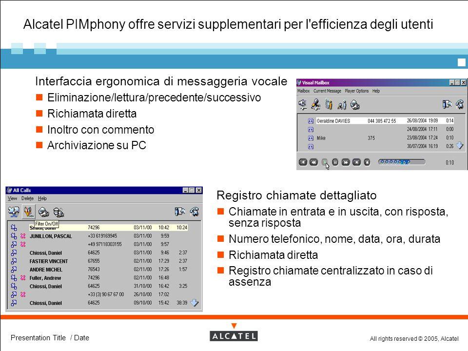 All rights reserved © 2005, Alcatel Presentation Title / Date Alcatel PIMphony offre servizi supplementari per l'efficienza degli utenti  Interfaccia