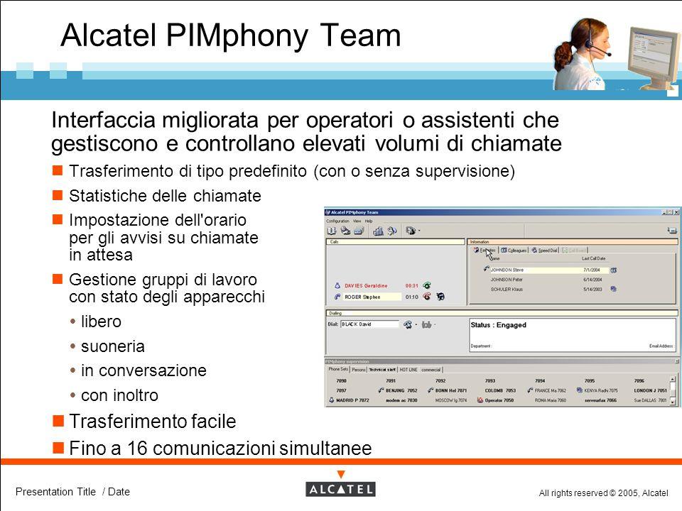 All rights reserved © 2005, Alcatel Presentation Title / Date Alcatel PIMphony Team  Interfaccia migliorata per operatori o assistenti che gestiscono