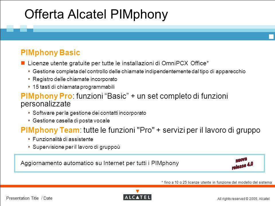 All rights reserved © 2005, Alcatel Presentation Title / Date Offerta Alcatel PIMphony  PIMphony Basic Licenze utente gratuite per tutte le installaz