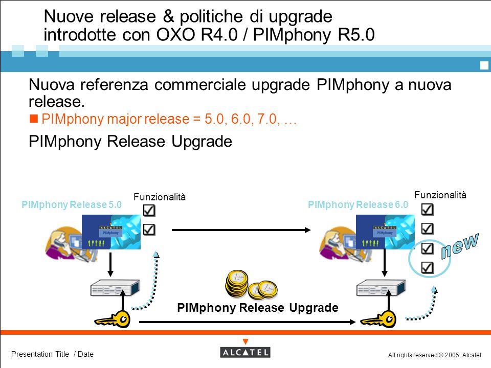 All rights reserved © 2005, Alcatel Presentation Title / Date Nuove release & politiche di upgrade introdotte con OXO R4.0 / PIMphony R5.0  Nuova ref